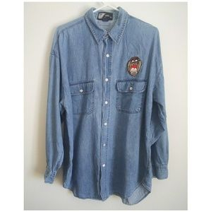 Other - Looney Toons Tazmanian Devil Denim Button Down